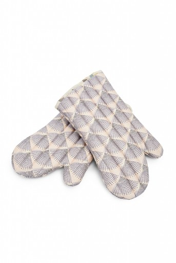 PS-MI0009  Blush Colour Printed Canvas Mittens With Cream Colour Printed Silkmul Piping
