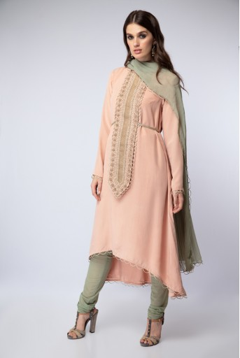 PS-FW469-E Blush Crepe High-Low Kurta with Mint Soft Net Churidar and Chiffon Dupatta
