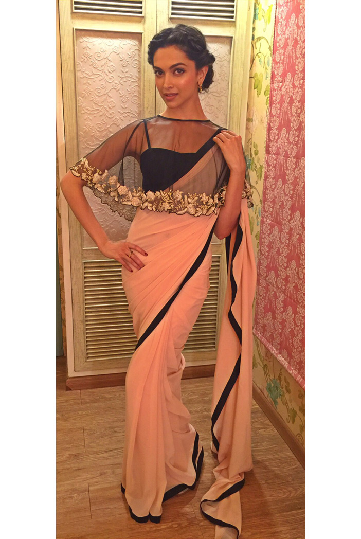 PS-ST0470 Blush Georgette Saree with Black Silk Bustier and Net Cape