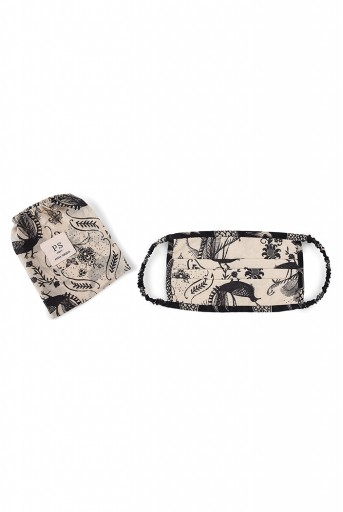 PS-MS0015 Blush Jannat with Black Pine Cone Print Pleated 3 Ply Mask with Pouch