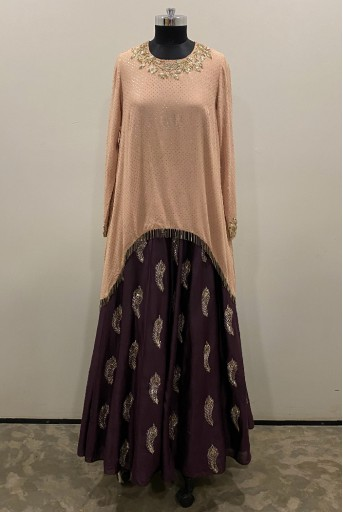 PS-FW444-D-1 Blush Mukaish Georgette Top With Purple Silkmul Lehenga