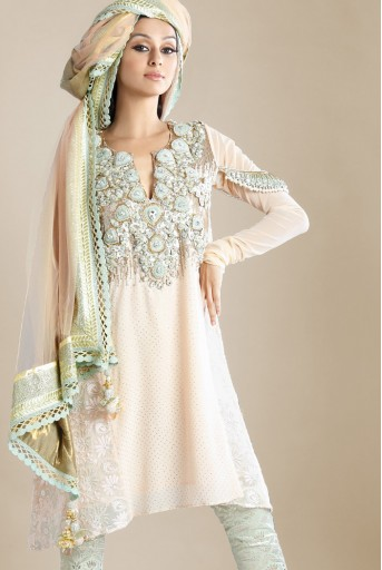 PS-FW117 Blush Mukaish Kurta with Brocade Pant and Net Dupatta