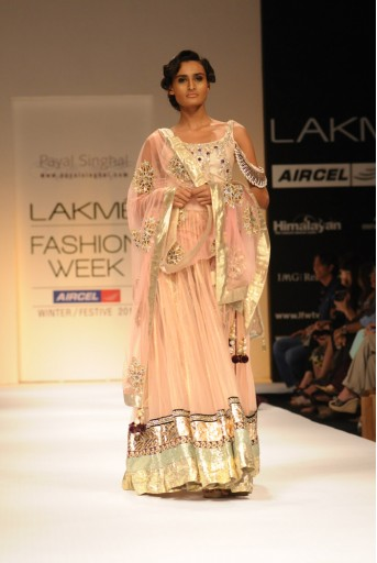 PS-FW122 Blush Net Lehenga with Embroidered Bodysuit and Dupatta