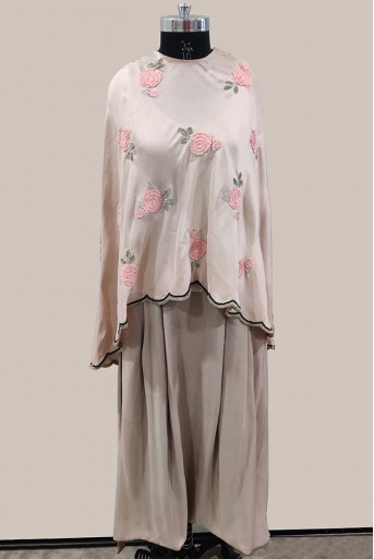 PS-ST0892-A-1 Blush Silk Cape with Grey Silk Low Crotch Pant and Camisole