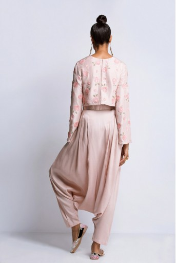 PS-ST0909A Blush Silk Crop Top and Low Crotch  Pants