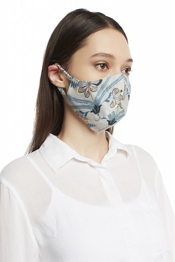 PS-MS0002 Botanical Garden and Bird Paradise Print Reversible 3 Ply Mask with Pouch