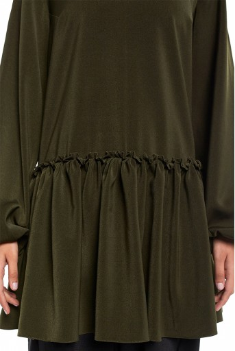 PS-TU1524-A  Bottle Green Colour Thick Georgette Frill Hem Tunic