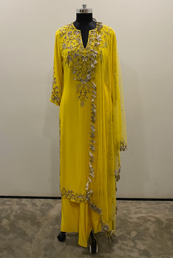 PS-KP0004-A-1 Bright Yellow Georgette Kurta with Crepe Palazzo and Mukaish Net Dupatta