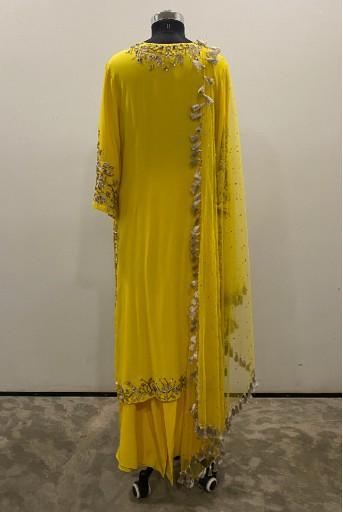 PS-KP0004-A-1 Bright Yellow Georgette Kurta with Crepe Palazzo and Mukaish Net Dupatta