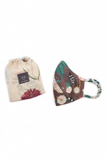 PS-MS0033  PS Men Brown Abutilon and Peach Bageecha Print Reversible 3 Ply Mask with Pouch for Men