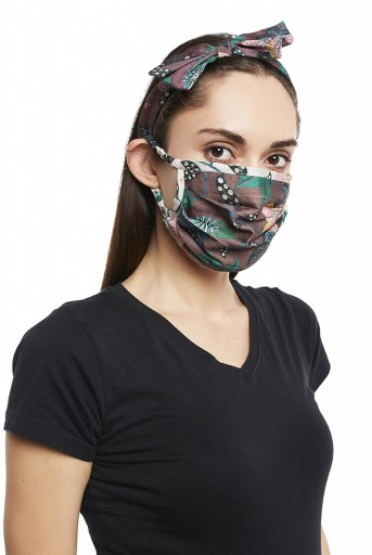 PS-HM0017  Brown Abutilon And White Abutilon Print Pleated 3 Ply Mask With Pouch And Hairband Set
