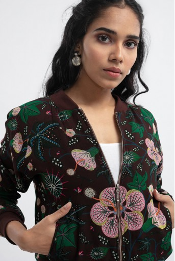 PS-JK0003-E  Brown Colour Printed Art Georgette Bomber Jacket