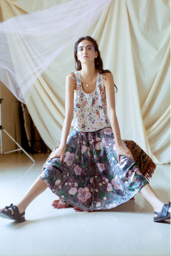 PS-LH1001 Brown Printed Velvet Cropped Skirt
