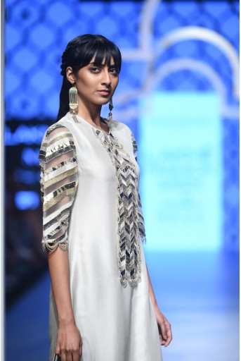 PS-FW485 Bushra Stone Silk Kurta with Navy Silk Palazzo