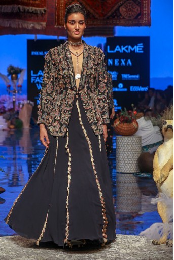 PS-FW652 Celia Black Georgette Jacket with Lehenga