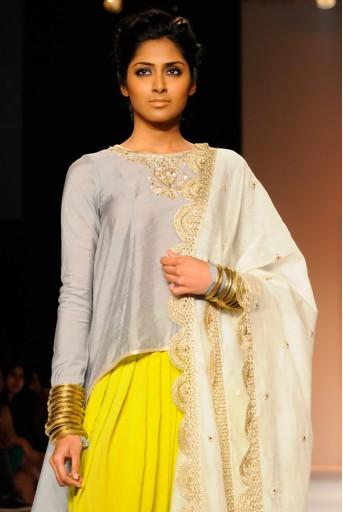 PS-FW178 Chaand Grey Cotton Silk High-Low Kurta with Lime Green Patiala Salwar and Cream Silkmul Dupatta