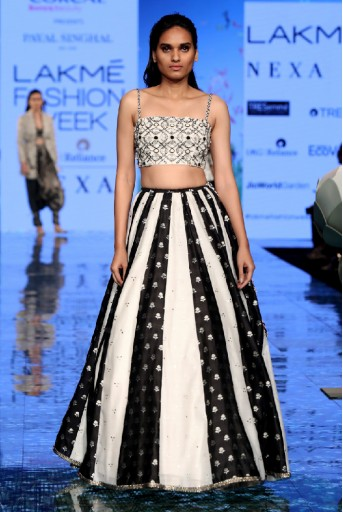 PS-FW723/1  Chalk White Colour Georgette Choli with Chalk White and Black Mukaish Silkmul Panelled Lehenga