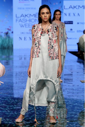 PS-FW707-3  Chalk White Colour Georgette Jacket with Pale Blue Colour Chanderi Stripe Kurta and Jogger Pant
