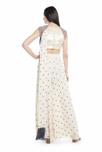 PS-SS0004-B-1  Chalk White Velvet Choli and Georgette Palazzo with Attached Drape Dupatta