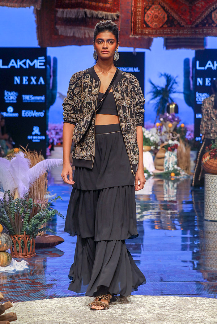 PS-FW653 Cloe Black Thick Georgette Bomber Jacket with Georgette Bustier and Layered Sharara