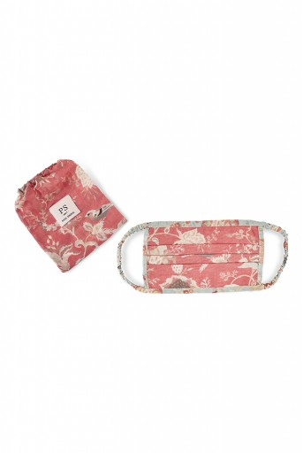 PS-MS0011 Coral and Aqua Chidiya Print Pleated 3 Ply Mask with Pouch
