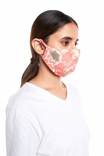 PS-MS0066  Coral Chidiya Print Structured 3 Ply Mask with Pouch
