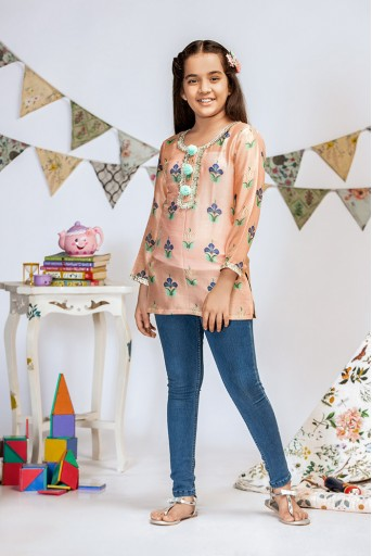 PS-KG0003 Coral Printed Silkmul Tunic