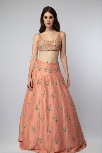 PS-ST1218 Coral Silk Choli with Lehenga and Mint Organza Dupatta with Waist Belt