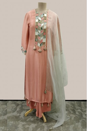 PS-ST1193-E-1 Coral Silk Kurta with Palazzo and Mint Organza Dupatta