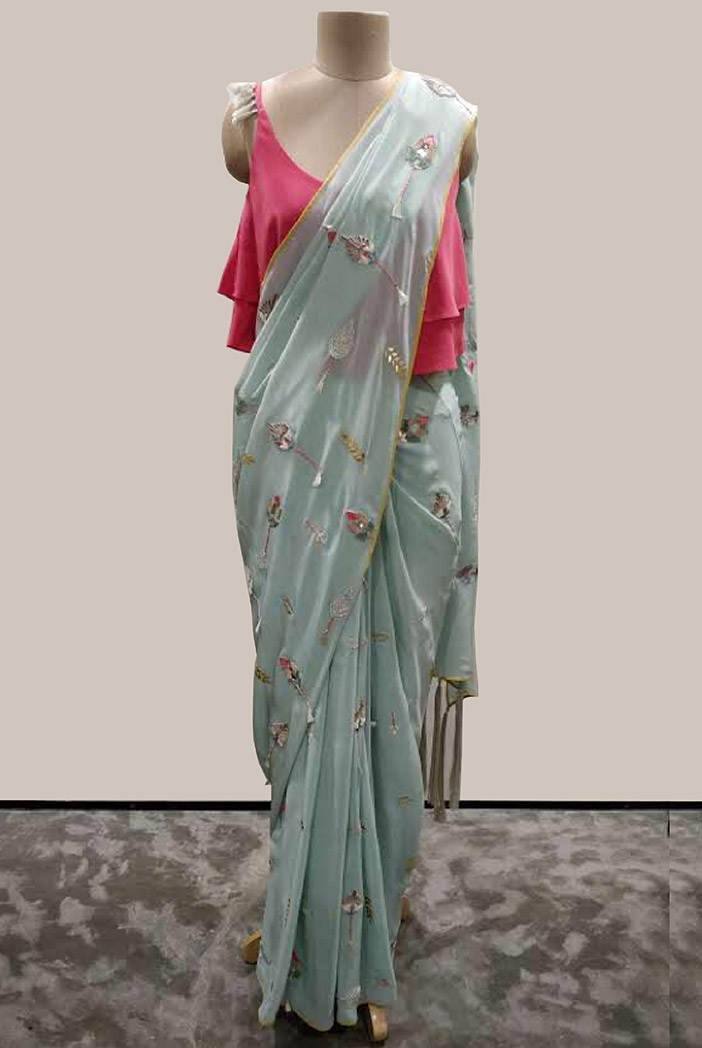 PS-ST1290-1 Cranberry Crepe Top with Ice Blue Georgette Saree