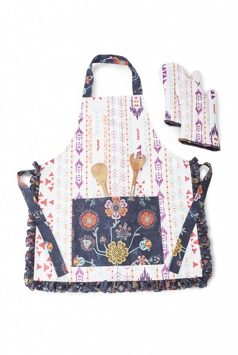 PS-AM0001  Cream and Navy Colour Printed Canvas Apron with Mittens and Pouch Set in Gift Box