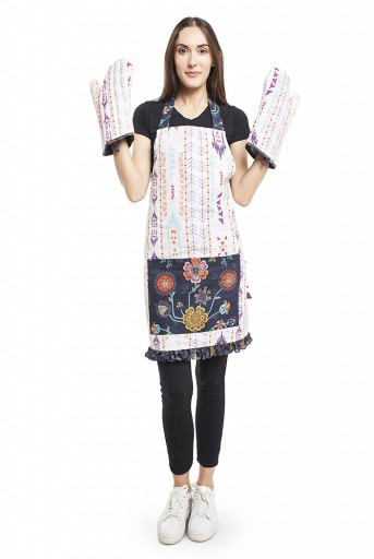PS-AP0003  Cream and Navy Colour Printed Canvas Apron with Pouch