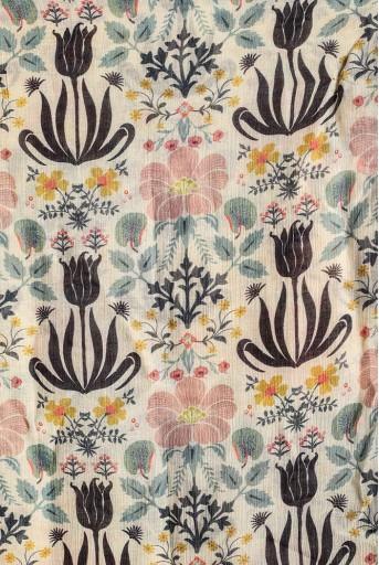 PS-TU1396  Cream Tulip Garden Print Full Width Scarf