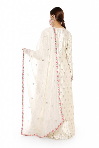 PS-KP0046  Cream Colour Banarasi Silk Kurta with Palazzo and Chanderi Mukaish Dupatta with Brocade Patterned Detail and Matching Structured 3 Ply Mask