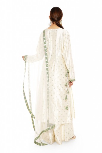 PS-KP0047  Cream Colour Banarasi Silk Kurta with Palazzo and Net Dupatta with Moss Green Colour Foil Patterned Silkmul Detail with Matching Structured 3 Ply Mask