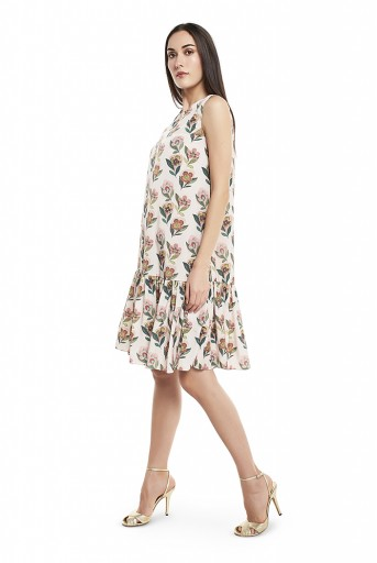 PS-TUA0027-A  Cream Colour Printed Art Crepe Frill Hem Tunic