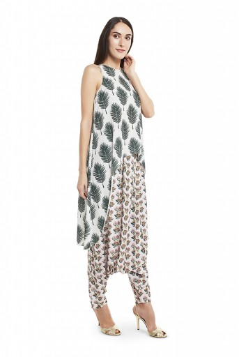 PS-FW420-MMM  Cream Colour Printed Art Crepe Kurta with Low Crotch Pant