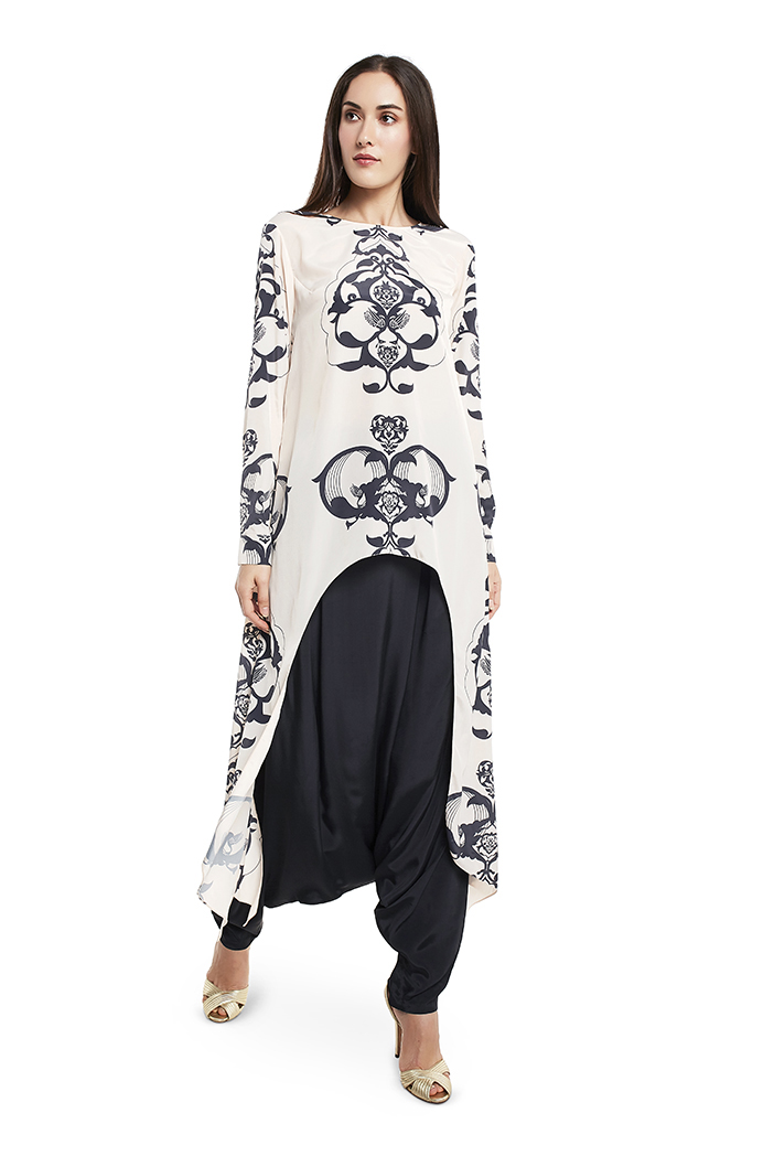 PS-FW420-PPP  Cream Colour Printed Art Crepe Top with Black Colour Art Crepe Low Crotch Pant