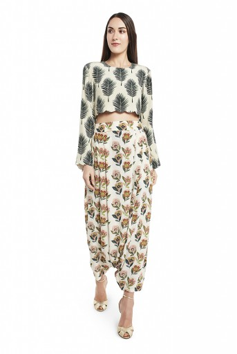 PS-FW437-T  Cream Colour Printed Crepe Crop Top with Low Crotch Pant