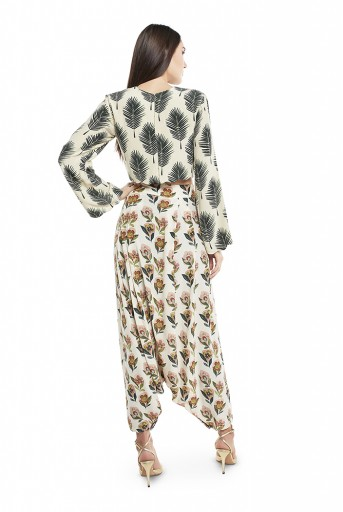 PS-FW437-T-1  Cream Colour Printed Crepe Crop Top with Low Crotch Pant