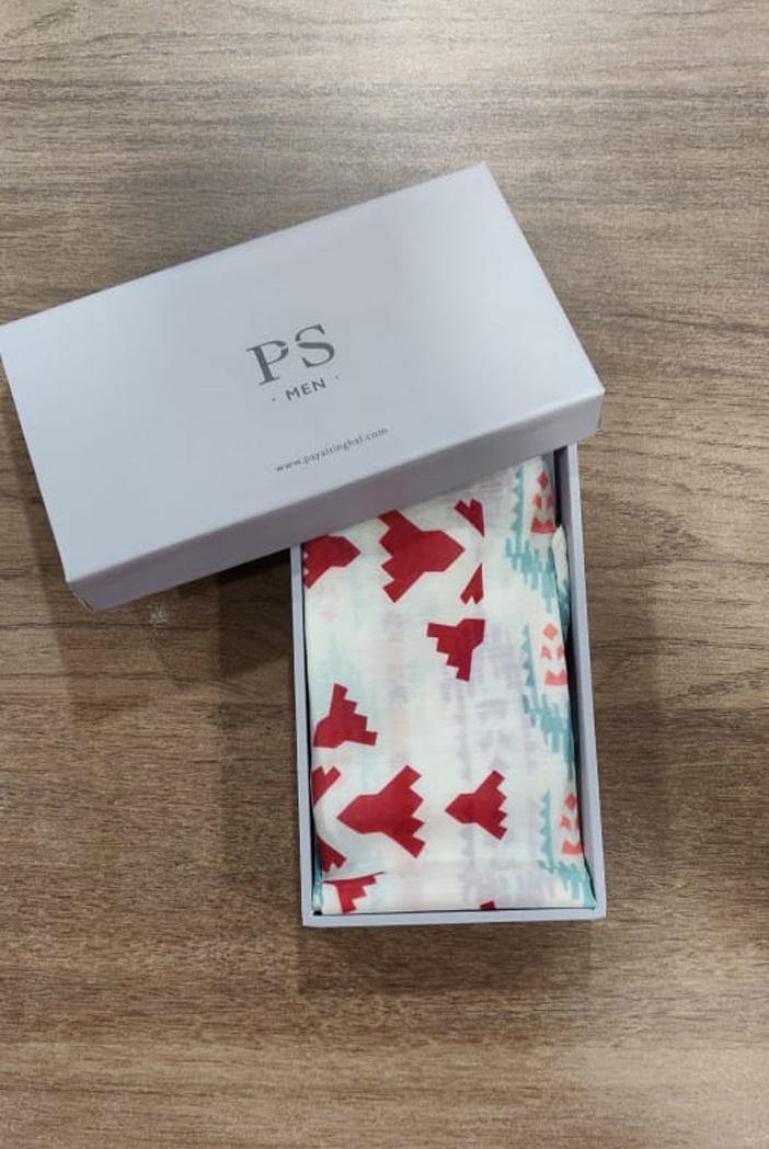 PS-PS100  Cream colour printed silkmul pocket square