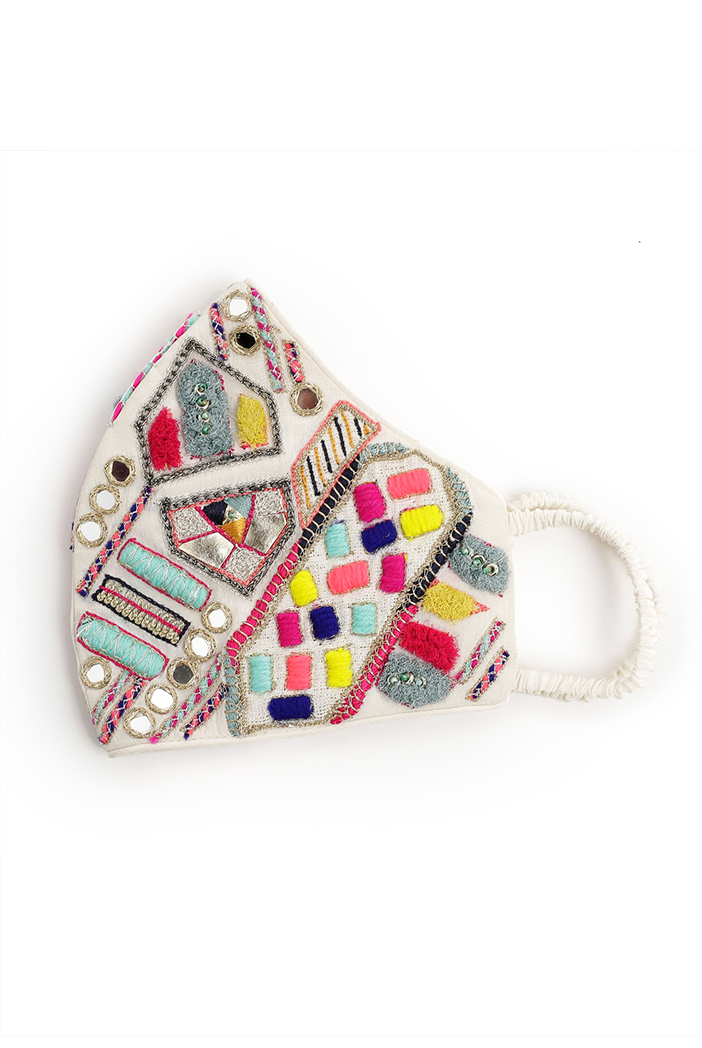 PS-MS0050  Cream Crepe Kutch Embroidered Mask
