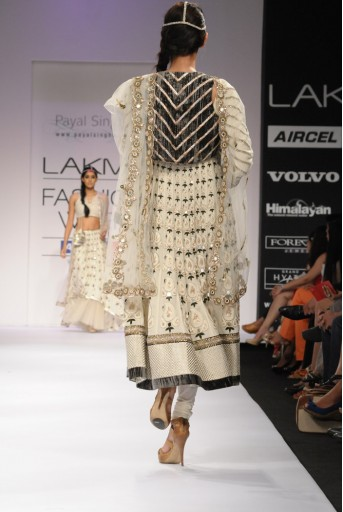 PS-FW165 Cream Ecru Embroidered Kurta with Velvet Koti and Soft Net Churidar and Net Dupatta