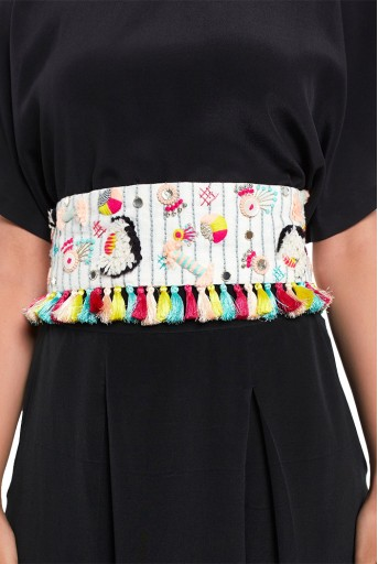 PS-BL012  Cream Linen Baby Butti Embroidered Tie-Up Belt with Colourful Tassels