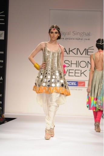 PS-FW154 Cream Net Short Anarkali with Cream Cotton Silk salwar