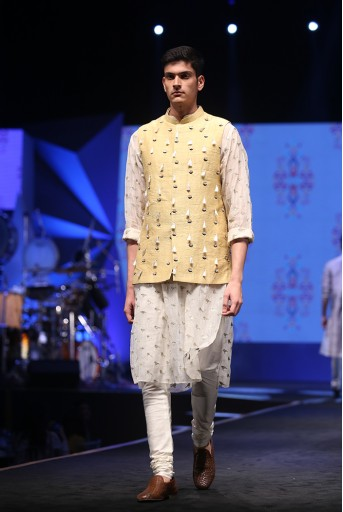 PS-FW602-1 Cream Organza Kurta with Pale Yellow Dupion Silk Bandi and off-White Cotton Silk Churidar