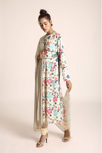 PS-ST0999Y Cream Printed Art Crepe Kurta with Soft Net Churidar and Cream Printed Art Georgette Dupatta