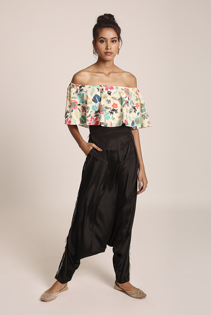 PS-FW425UU Cream Printed Art Crepe Ruffle Off Shoulder Top with Black Art Crepe Low Crotch Pant