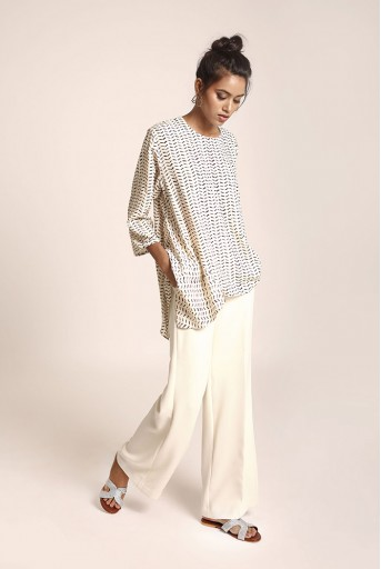 PS-TU1199 Cream Printed Art Crepe Tunic