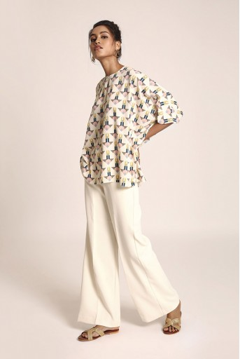 PS-TUA0040 Cream Printed Art Crepe Tunic